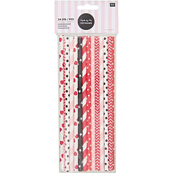 Rico Design Papierstrohhalme rot-schwarz-rosa 24 Stück