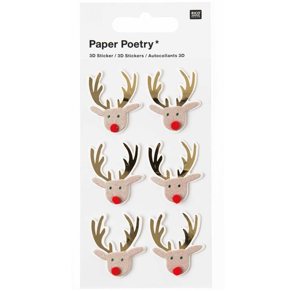 Paper Poetry 3D Sticker Rentier braun