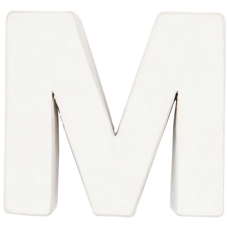Rico Design 3D Pappbuchstaben weiß stehend M