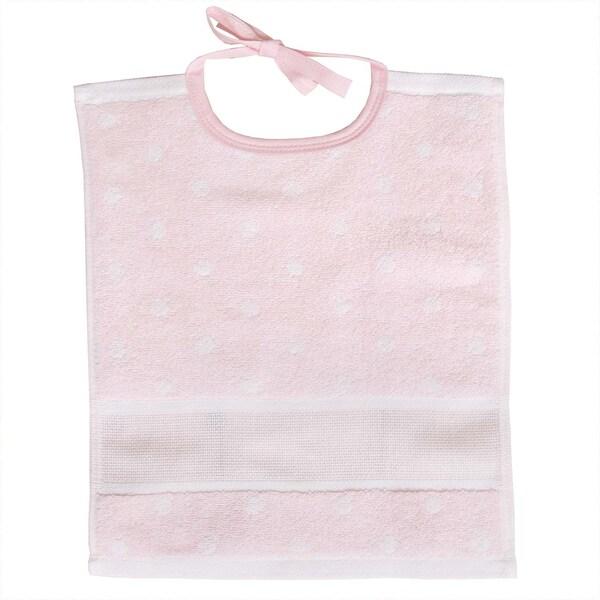 Rico Design Lätzchen mit weißen Punkten 30x34cm rosa-weiß