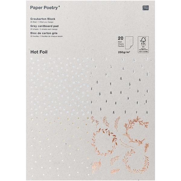 Paper Poetry Graukarton Block X-Mas Hot Foil 20 Blatt 250g/m²