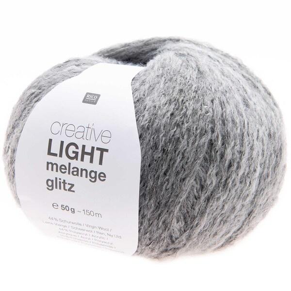 Rico Design Creative Light Melange Glitz 50g 150m grau mix