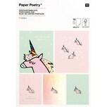 Paper Poetry Postkartenblock Einhorn 400g/m² 15 Stück