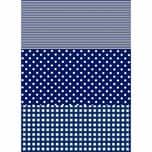 décopatch Papier Karo-Punkte blau 3 Bogen