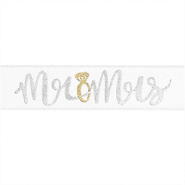 Motivband Mr & Mrs weiß 16mm