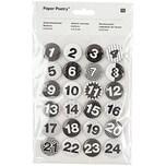 Paper Poetry Adventskalender Zahlen Buttons schwarz-weiß 2,5cm 24 Stück