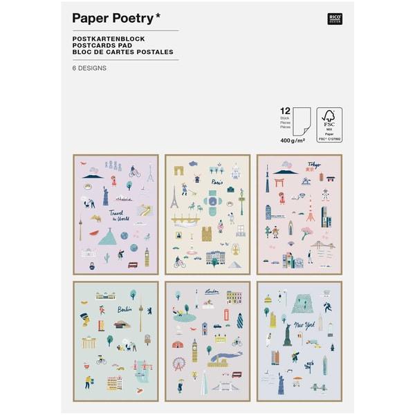 Paper Poetry Postkartenblock Travel the World 12 Stück