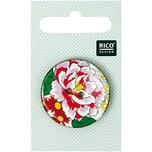 Rico Design Knopf mit Rose rosa 3,4cm