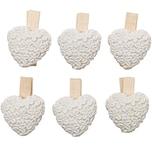 Herz auf Klammer weiß 3,5x2,8cm 6 Stück
