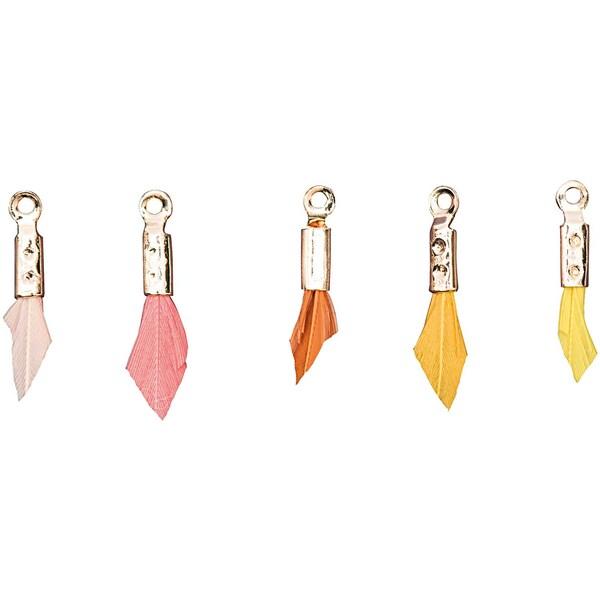 Jewellery Made by Me Anhänger Feder Mix ocker 5 Stück