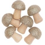 Ohhh! Lovely! 3D-Holzstreu Pilz mit Glitter natur/gold 6-teilig