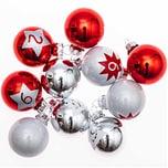 Adventskalenderkugeln 1-24 rot-silber-weiß 3,5cm 24 Stück