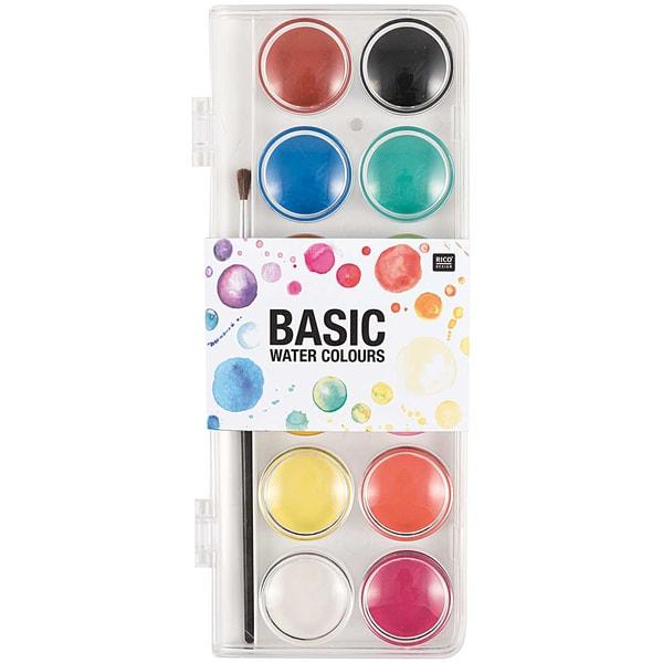 Rico Design Basic Water Colours Wasserfarbkasten 12 Farben