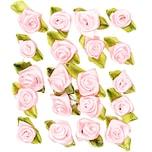 Röschen auf Schleife zum Kleben 20 Stück rosa