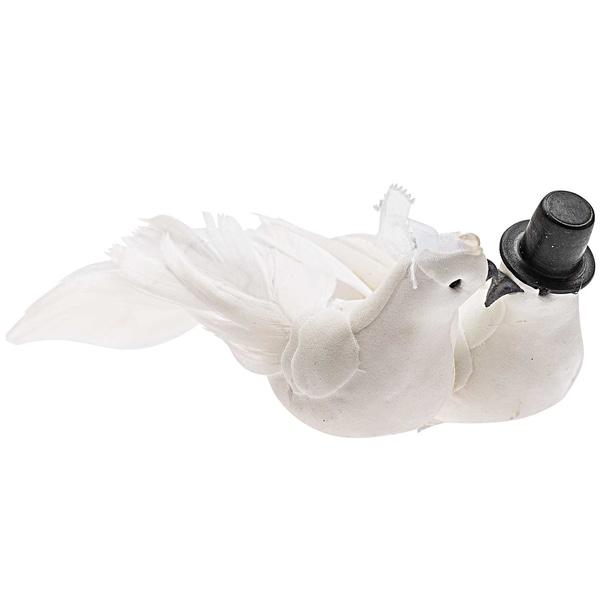 Taubenpaar mit Schleier und Zylinder 14x6cm