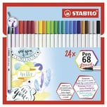 STABILO Pen 68 Brush im Kartonetui 24 Farben