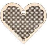 Rico Design Holzanhänger Herz zum Besticken 7,2x8,1cm