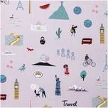 Rico Design Druckstoff Travel the World flieder 50x140cm