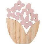 Dekoblume aus Holz natur-rosa 9,5x7,5cm