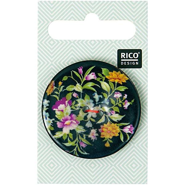 Rico Design Knopf floral schwarz 4cm