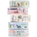 Paper Poetry Tape Set Cities 1,5cm 10 m 5 Stück