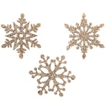 Filz-Schneeflockenstreu rosé-gold-glitter 3,5cm 12 Stück
