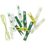 Holz-Klammern mit Band Botanica grün-weiß 12 Stück