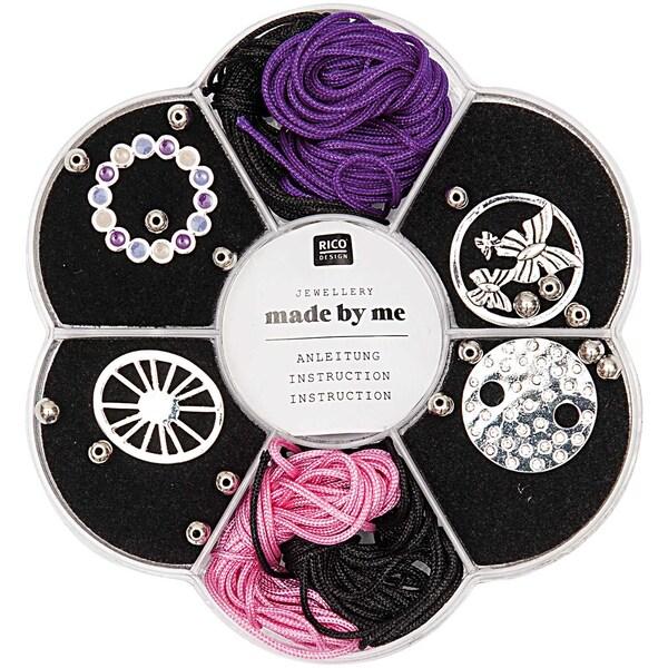 Jewellery Made by Me Makramee Set schwarz-rosa-lila 24teilig