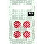 Rico Design Knöpfe rot gepunktet 1,2cm 4 Stück