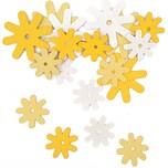 Rico Design Blüten aus Holz gelb-weiß 18 Stück