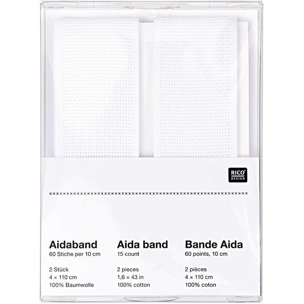 Rico Design Aidaband weiß 4x110cm zum Besticken 2 Stück