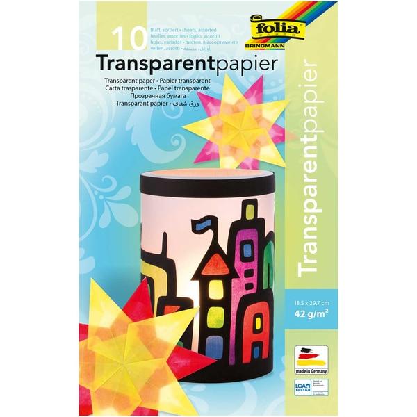 folia Transparentpapier mehrfarbig 18,5x29,7cm 10 Blatt
