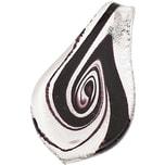 Jewellery Made by Me Anhänger Blatt schwarz-weiß-silber 66x35mm