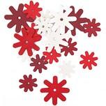 Rico Design Blüten aus Holz rot-weiß 18 Stück