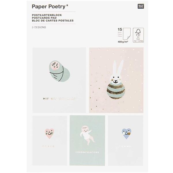 Paper Poetry Postkartenblock Hello Baby 15 Karten
