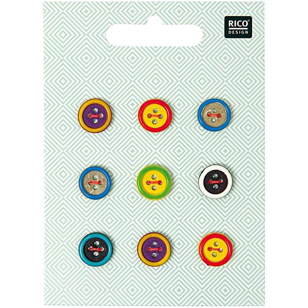 Rico Design Holzknopf Mix Rand mehrfarbig 1,4cm 9 Stück