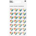 Paper Poetry Gelsticker Herzen mehrfarbig gestreift