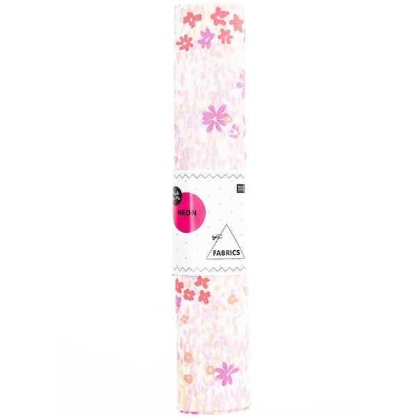 Rico Design Druckstoff Crafted Nature Blumenwiese weiß-neon 50x140cm