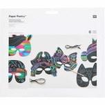 Paper Poetry Kratzpapier Masken Set 6 Stück mit Holzkratzer