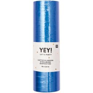 YEY! Let's Party Luftschlangen 3,8m blau matt
