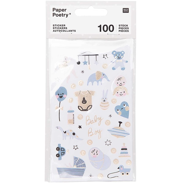 Paper Poetry Sticker Hello Baby Junge 4 Blatt