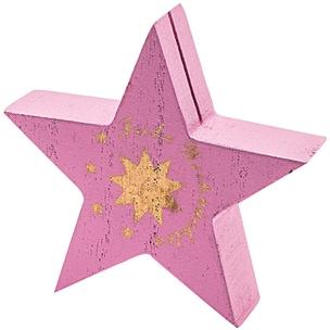 Tischkartenhalter Stern Frohe Weihnachten 8,5cm rosa