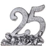 Deko Zahl 25 silber 6,8cm