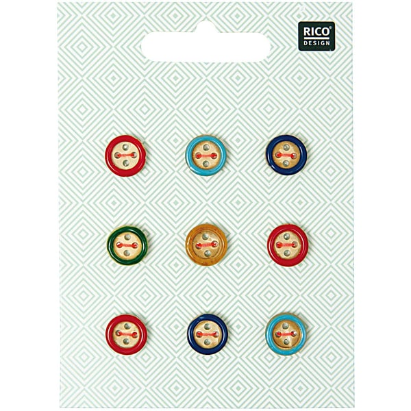 Rico Design Holzknopf Mix Rand mehrfarbig 1,1cm 9 Stück