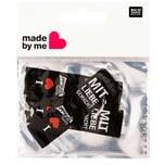 Wolle Rödel Webetiketten mit Liebe gemacht schwarz 2x8cm 3 Stück