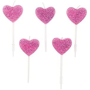 YEY! Let's Party Kerzen Herzen Glitter rosa 5 Stück