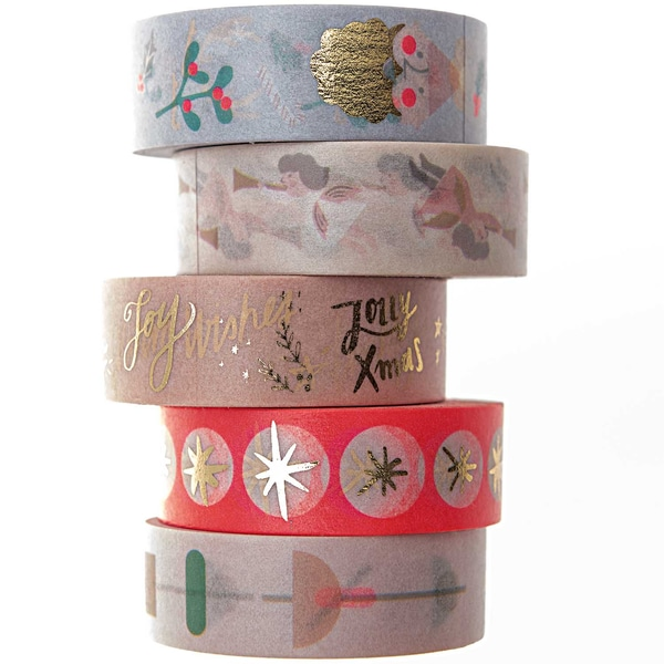 Paper Poetry Tape Set Jolly Christmas Pastell 1,5cm 10m 5teilig