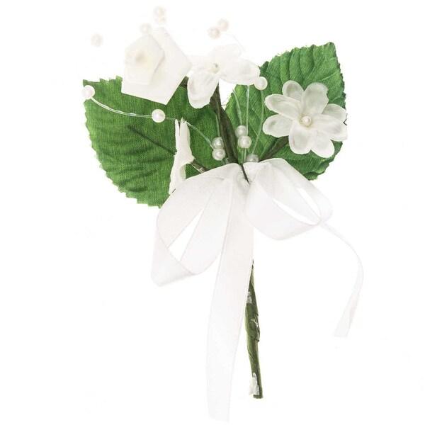 Blütenanstecker mit Schleife creme-grün 11x7cm