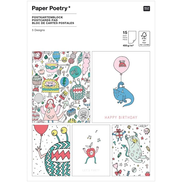 Paper Poetry Postkartenblock Monster Party 400g/m² 15 Stück