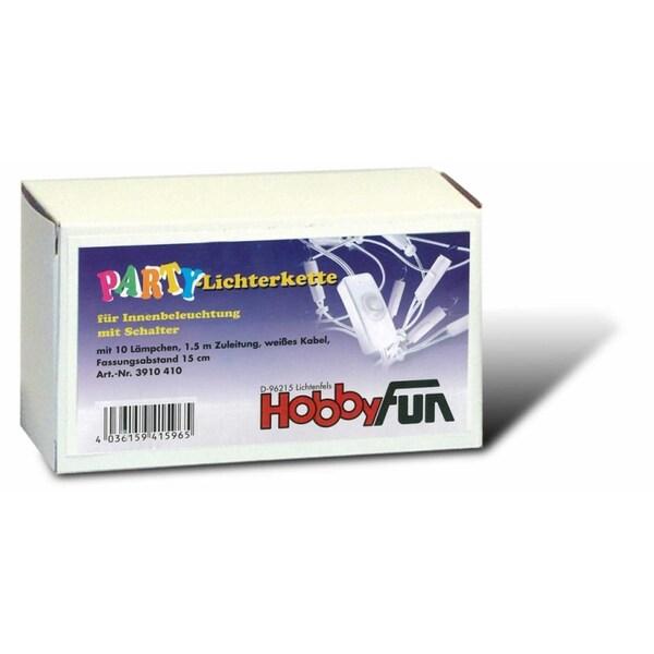 HobbyFun Lichterkette mit Schalter weiß 10 Lichter